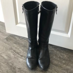 Black leather Faronelli Boots with suede inside